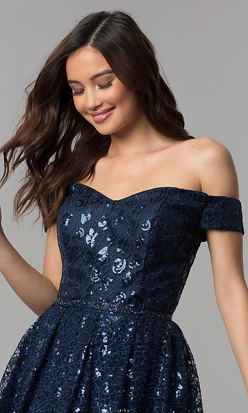 Image of off-the-shoulder navy sequin short homecoming dress. Style: CLA-3345 Detail Image 1