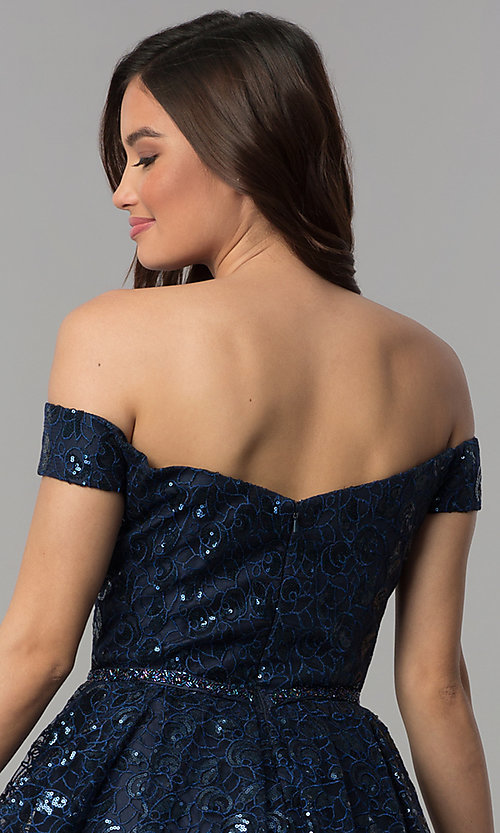 Image of off-the-shoulder navy sequin short homecoming dress. Style: CLA-3345 Detail Image 2