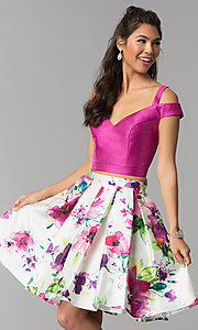 Image of floral-print-skirt two-piece short homecoming dress. Style: DJ-A7034 Front Image