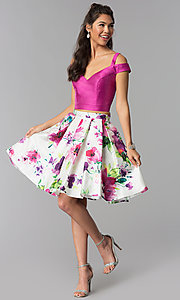 Image of floral-print-skirt two-piece short homecoming dress. Style: DJ-A7034 Detail Image 2