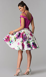 Image of floral-print-skirt two-piece short homecoming dress. Style: DJ-A7034 Detail Image 3