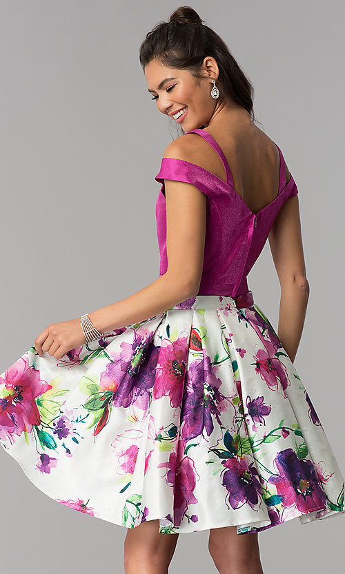 Image of floral-print-skirt two-piece short homecoming dress. Style: DJ-A7034 Back Image