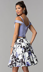 Image of short satin homecoming two-piece print-skirt dress. Style: DJ-A7154 Back Image