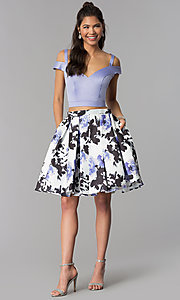 Image of short satin homecoming two-piece print-skirt dress. Style: DJ-A7154 Detail Image 2