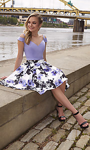 Image of short satin homecoming two-piece print-skirt dress. Style: DJ-A7154 Detail Image 3