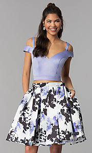 Image of short satin homecoming two-piece print-skirt dress. Style: DJ-A7154 Front Image