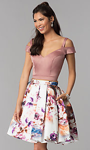 Image of two-piece short homecoming print-skirt dress. Style: DJ-A7155 Front Image