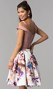 Image of two-piece short homecoming print-skirt dress. Style: DJ-A7155 Back Image