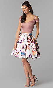 Image of two-piece short homecoming print-skirt dress. Style: DJ-A7155 Detail Image 3