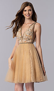 Image of cream gold short homecoming party dress with beading. Style: TI-GL-1721H4515G Front Image