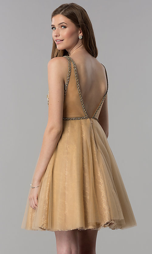 Image of cream gold short homecoming party dress with beading. Style: TI-GL-1721H4515G Back Image