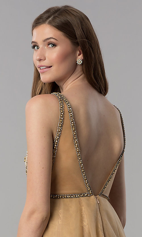 Image of cream gold short homecoming party dress with beading. Style: TI-GL-1721H4515G Detail Image 2