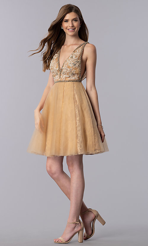 Image of cream gold short homecoming party dress with beading. Style: TI-GL-1721H4515G Detail Image 3