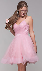 Image of short v-neck tulle homecoming party dress. Style: TI-GL-1821H7761 Front Image