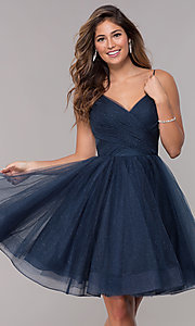 Image of short v-neck tulle homecoming party dress. Style: TI-GL-1821H7761 Detail Image 1