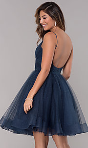 Image of short v-neck tulle homecoming party dress. Style: TI-GL-1821H7761 Back Image