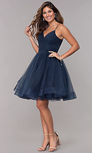 Image of short v-neck tulle homecoming party dress. Style: TI-GL-1821H7761 Detail Image 3