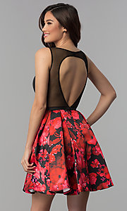 Image of short homecoming party dress with floral-print skirt. Style: TI-GL-1825H7966 Back Image