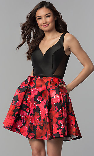 Short Homecoming Party Dress with Floral-Print Skirt