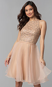Image of glitter-bodice short homecoming party dress. Style: TI-GL-1821H7907 Front Image