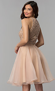 Image of glitter-bodice short homecoming party dress. Style: TI-GL-1821H7907 Back Image