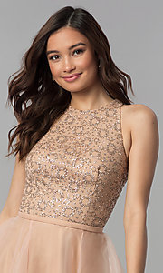 Image of glitter-bodice short homecoming party dress. Style: TI-GL-1821H7907 Detail Image 1