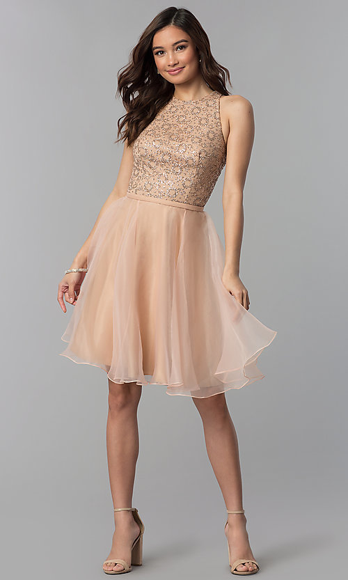 Image of glitter-bodice short homecoming party dress. Style: TI-GL-1821H7907 Detail Image 3