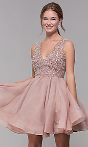 Image of bead-embellished v-neck short homecoming dress. Style: TI-GL-1522H0157 Front Image