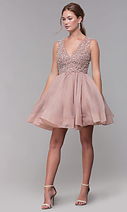 Image of bead-embellished v-neck short homecoming dress. Style: TI-GL-1522H0157 Detail Image 3