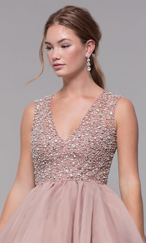 Image of bead-embellished v-neck short homecoming dress. Style: TI-GL-1522H0157 Detail Image 1