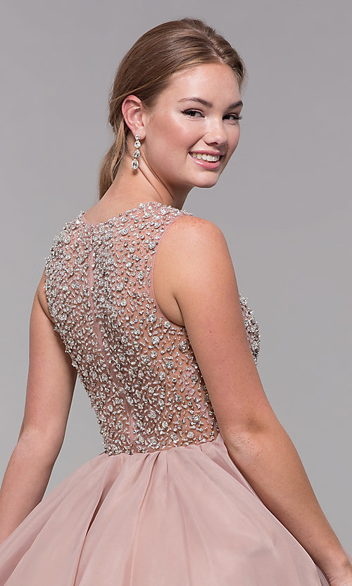 Image of bead-embellished v-neck short homecoming dress. Style: TI-GL-1522H0157 Detail Image 2