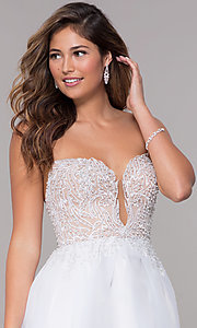 Image of embroidered-bodice short strapless homecoming dress. Style: TI-GL-1811P5100G Detail Image 1