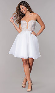 Image of embroidered-bodice short strapless homecoming dress. Style: TI-GL-1811P5100G Detail Image 3