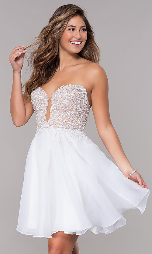 Image of embroidered-bodice short strapless homecoming dress. Style: TI-GL-1811P5100G Front Image