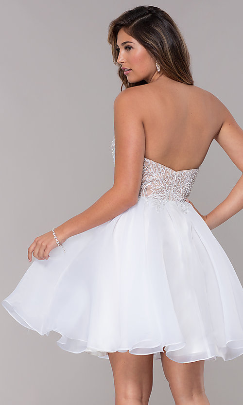 Image of embroidered-bodice short strapless homecoming dress. Style: TI-GL-1811P5100G Back Image