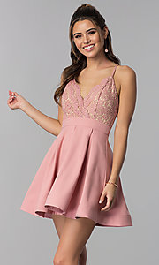 Image of lace-bodice short homecoming dress in mauve pink. Style: LUX-PL-LD5026 Front Image