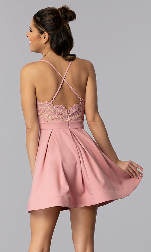 Image of lace-bodice short homecoming dress in mauve pink. Style: LUX-PL-LD5026 Back Image