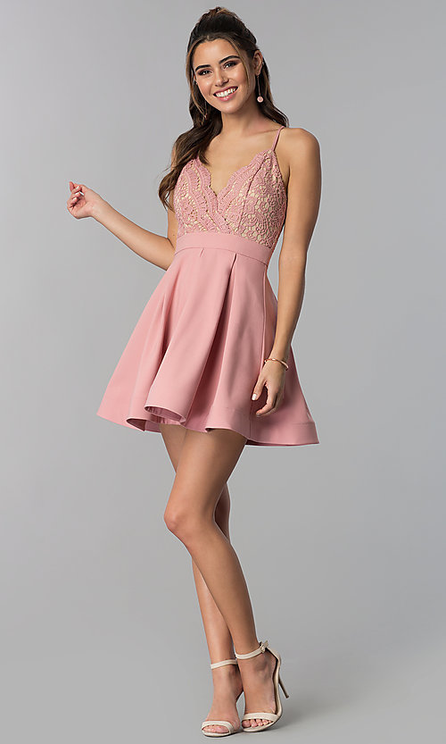 Image of lace-bodice short homecoming dress in mauve pink. Style: LUX-PL-LD5026 Detail Image 3