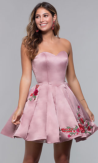 Homecoming Short Strapless Embroidered Dress