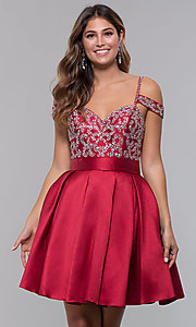 Image of short homecoming sweetheart party dress with corset. Style: HOW-DA-52430 Front Image