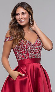 Image of short homecoming sweetheart party dress with corset. Style: HOW-DA-52430 Detail Image 1