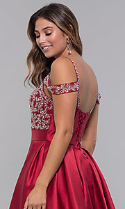 Image of short homecoming sweetheart party dress with corset. Style: HOW-DA-52430 Detail Image 2