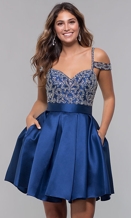 Image of short homecoming sweetheart party dress with corset. Style: HOW-DA-52430 Detail Image 4