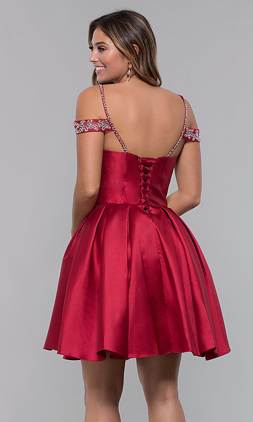 Image of short homecoming sweetheart party dress with corset. Style: HOW-DA-52430 Back Image