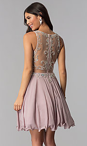 Image of short mocha mock-two-piece homecoming party dress. Style: DQ-PL-3052 Back Image