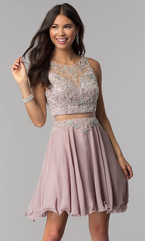 Image of short mocha mock-two-piece homecoming party dress. Style: DQ-PL-3052 Front Image