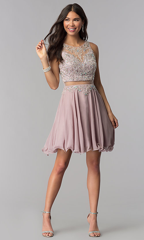 Image of short mocha mock-two-piece homecoming party dress. Style: DQ-PL-3052 Detail Image 3
