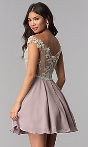 Image of short chiffon off-the-shoulder homecoming party dress. Style: DQ-PL-3053 Back Image
