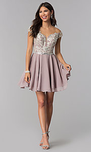 Image of short chiffon off-the-shoulder homecoming party dress. Style: DQ-PL-3053 Detail Image 3
