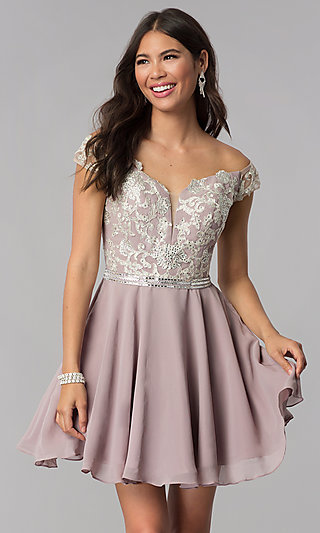 Short Chiffon Off-the-Shoulder Homecoming Party Dress